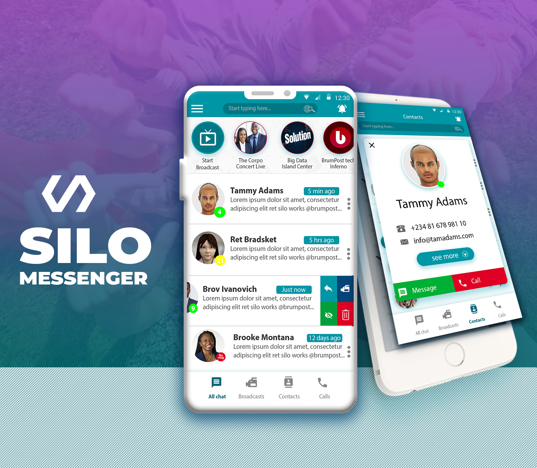 Silo Messenger - Free instant messenger chat application UI template